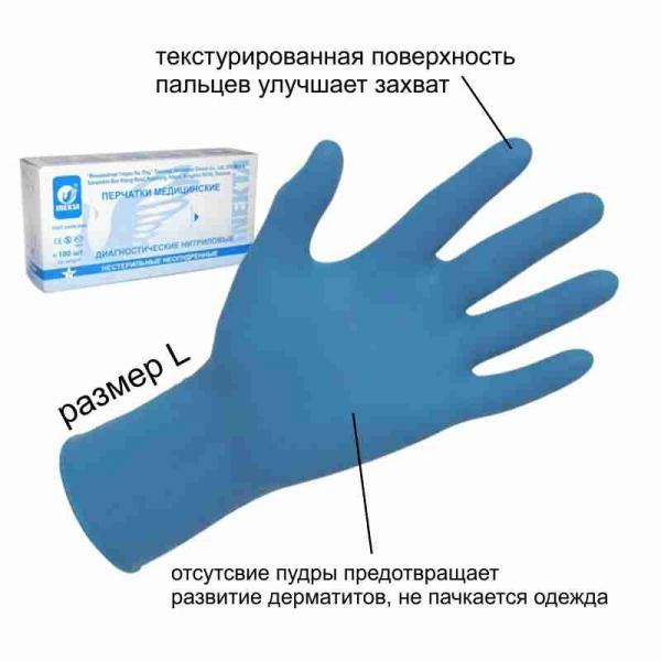 Перчатки смотровые нитриловые неопудренные нестерильные голубые L